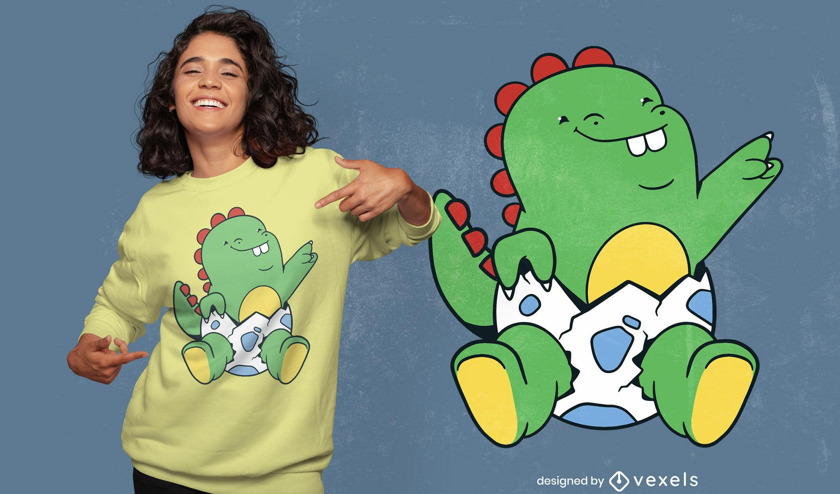 Bebé dinosaurio en diseño de camiseta de huevo.
