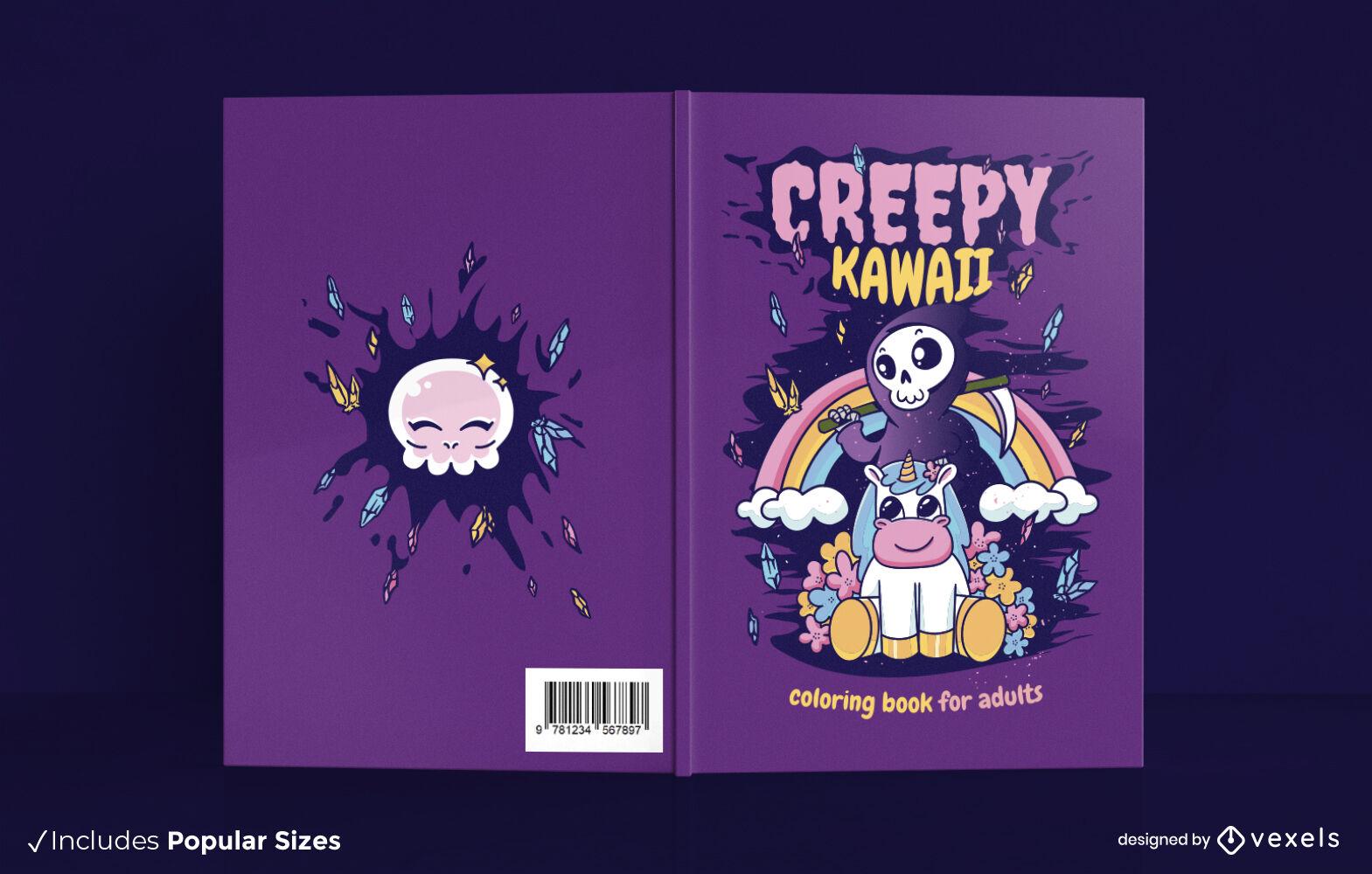Dise?o de portada de libro de Halloween espeluznante kawaii
