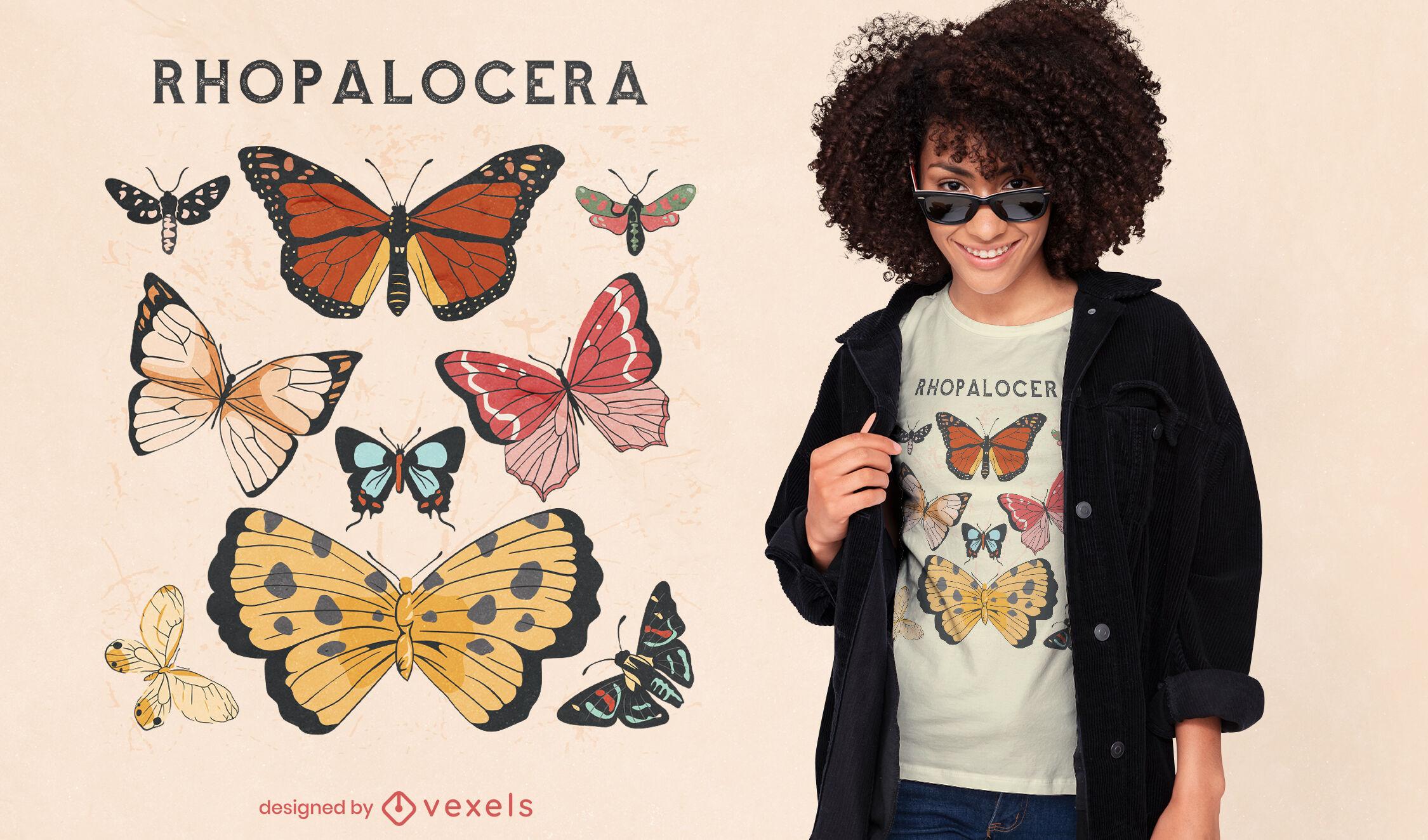 Diseño de camiseta de insectos mariposas volando.