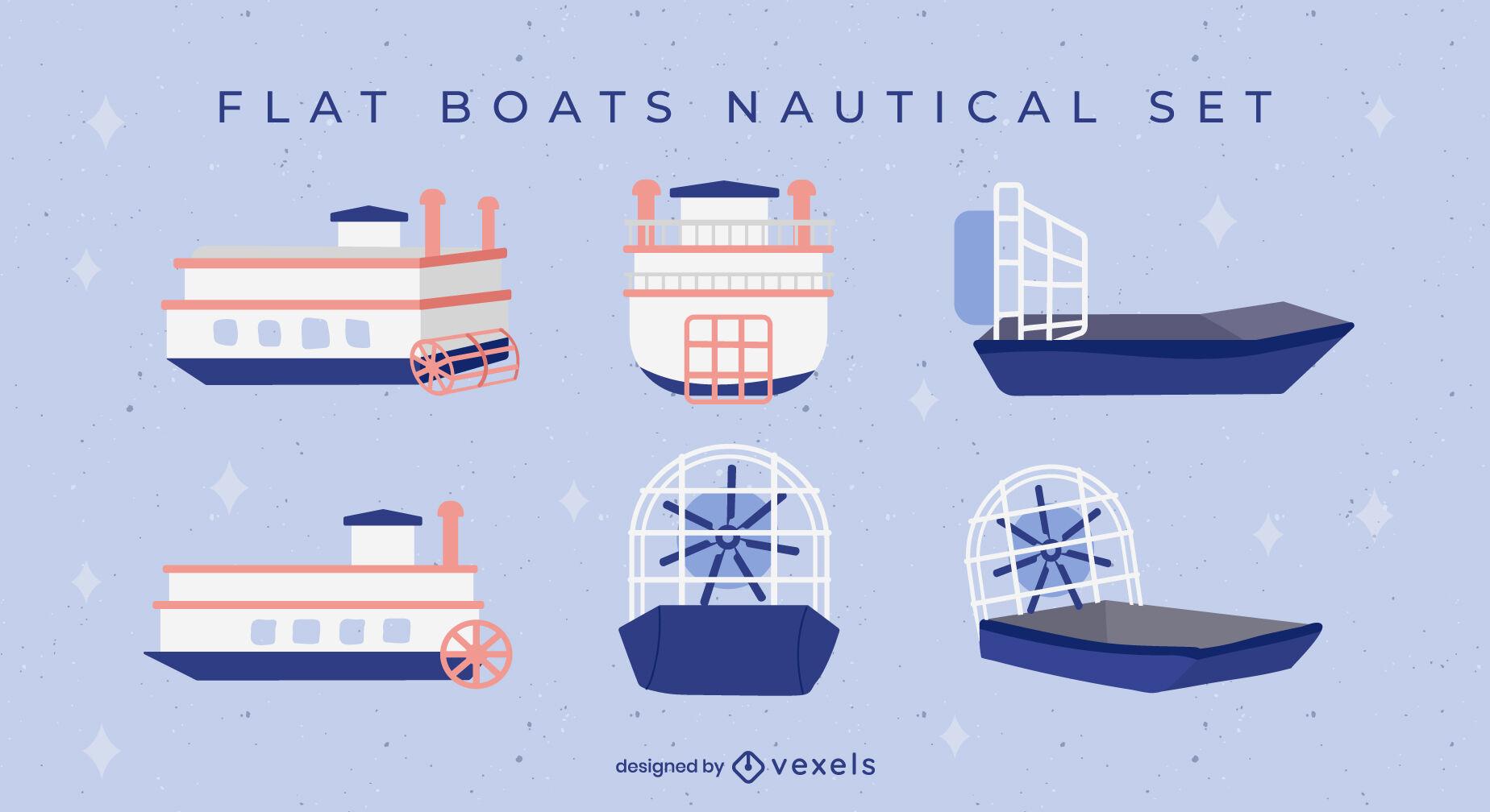 Ferry boats nautical transport flat set