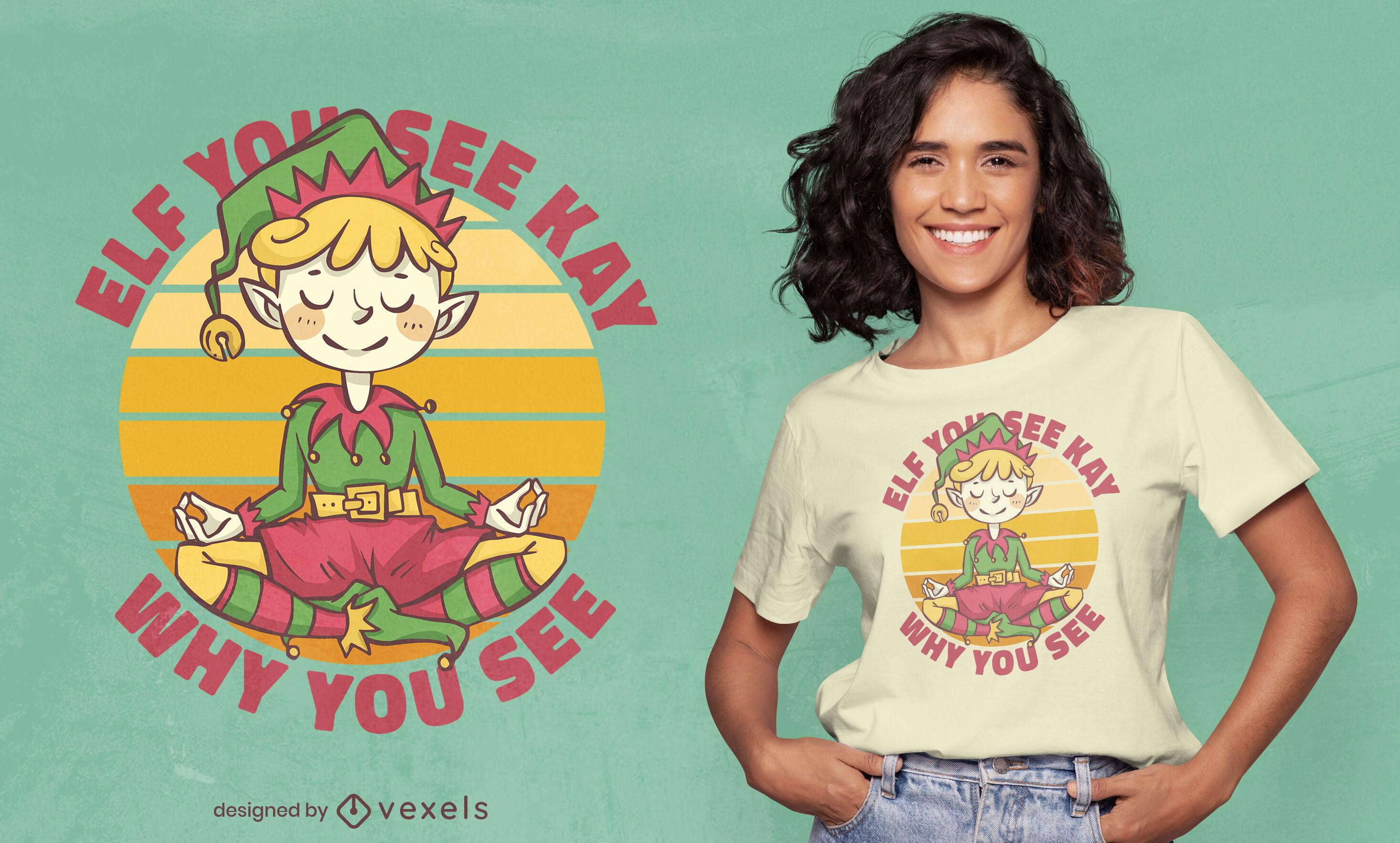 Duende navideño haciendo yoga diseño de camiseta