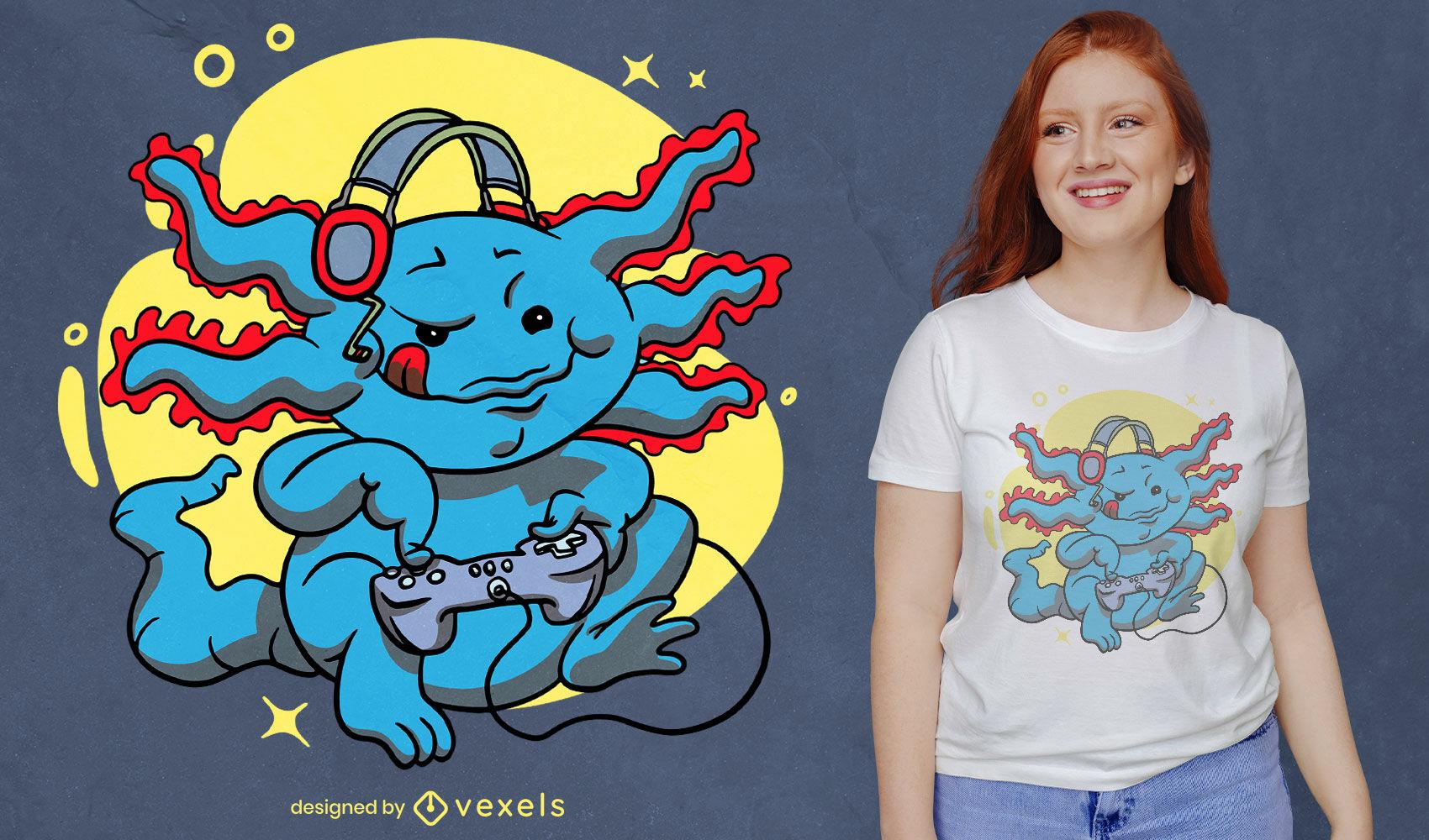 Jogador axolotl com design de t-shirt com joystick