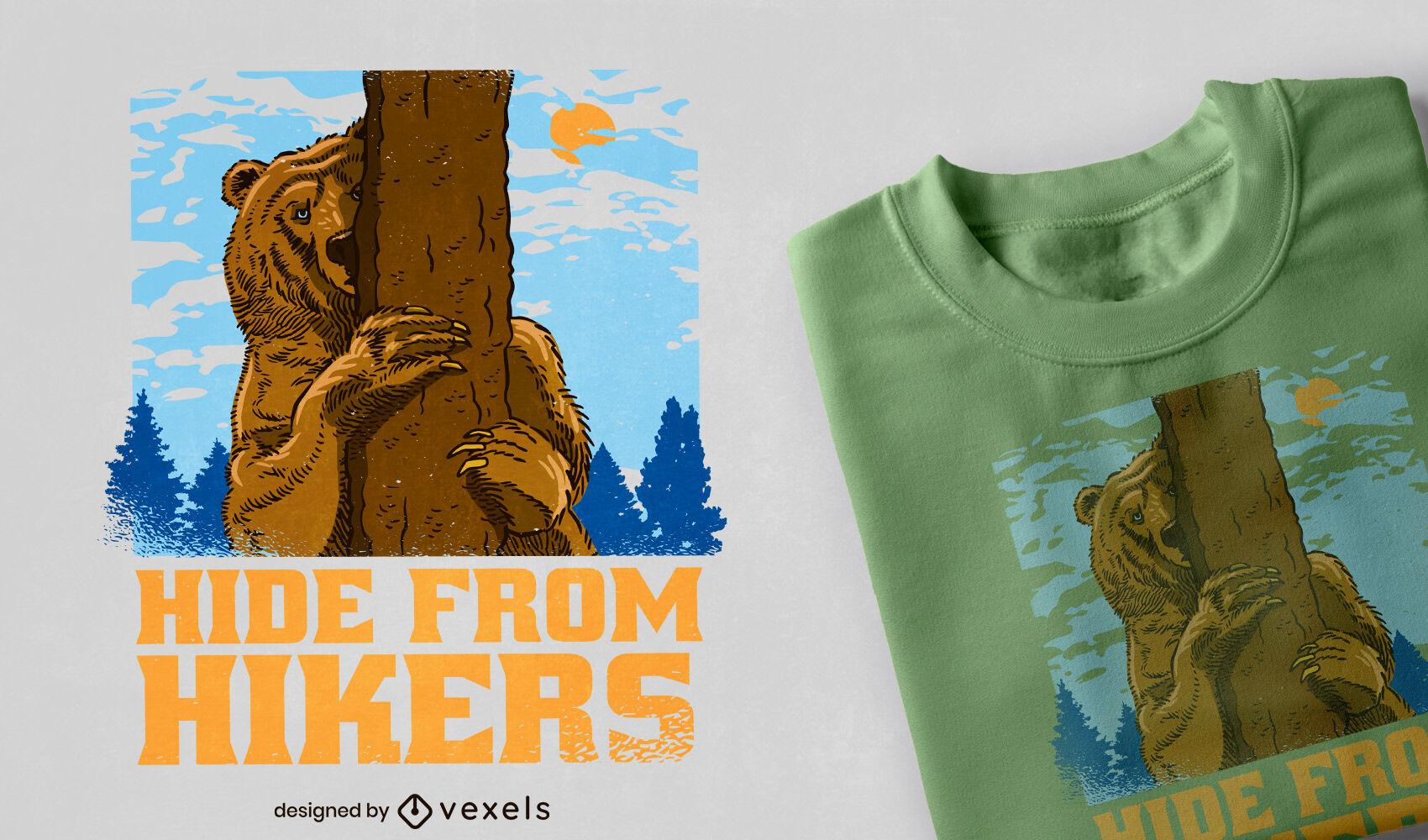 Diseño de camiseta de oso de montaña escondido.
