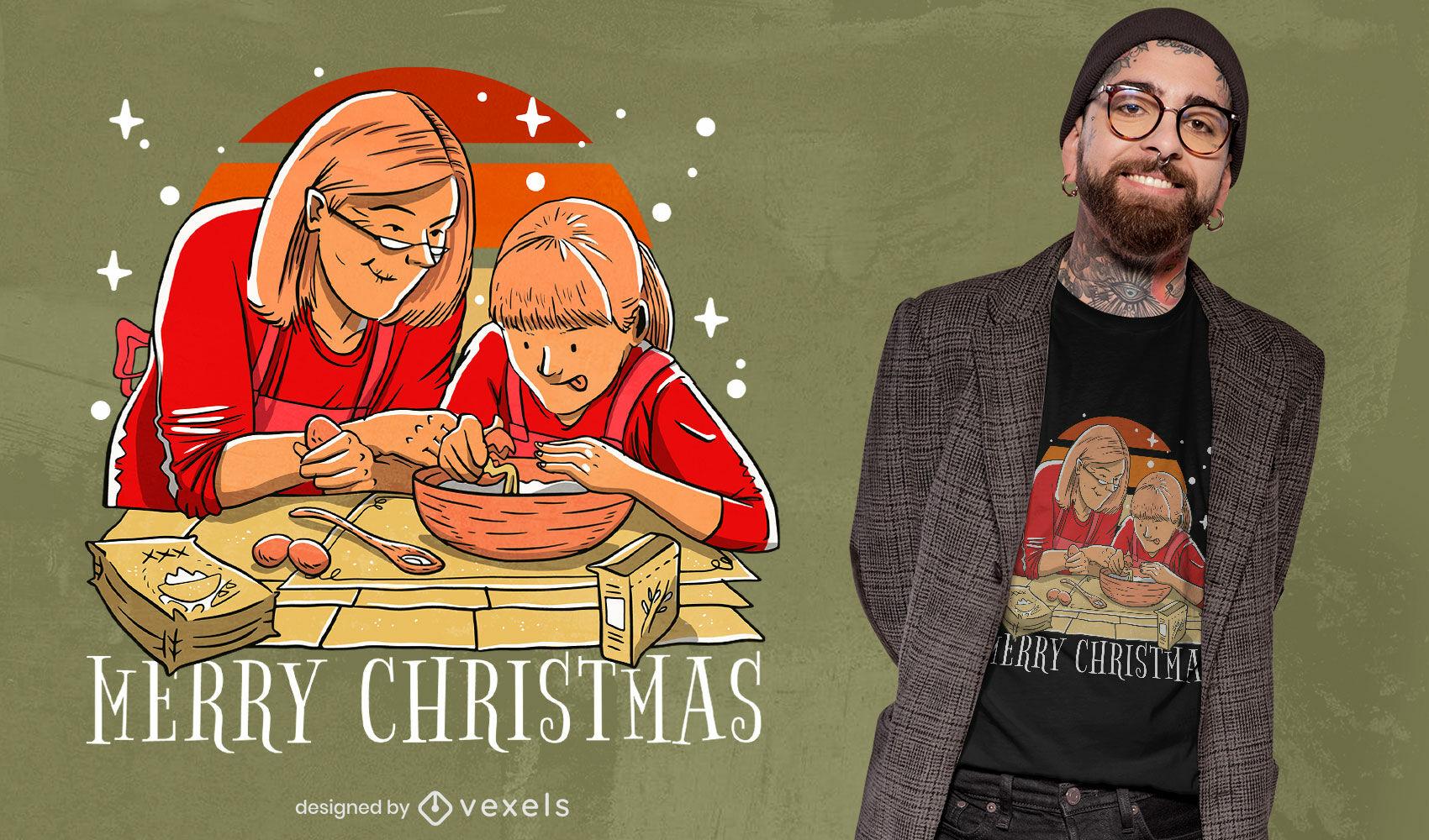 Diseño de camiseta de cocina familiar navideña.
