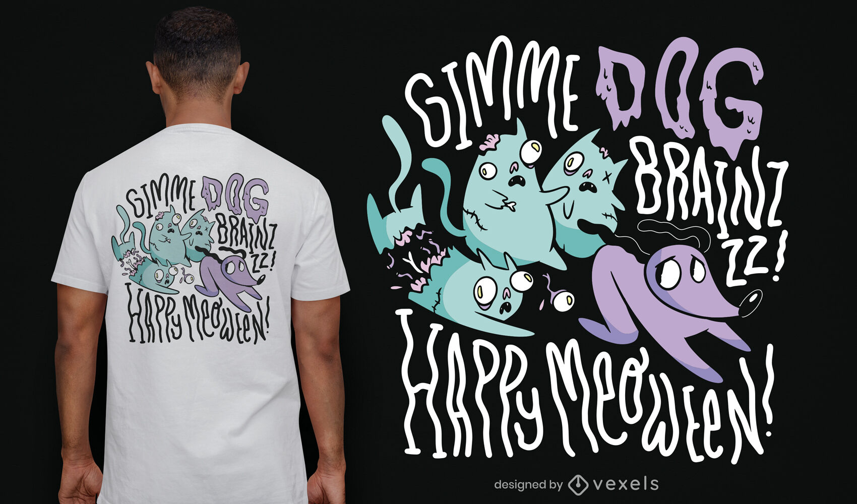 Diseño de camiseta de gatos zombie de halloween