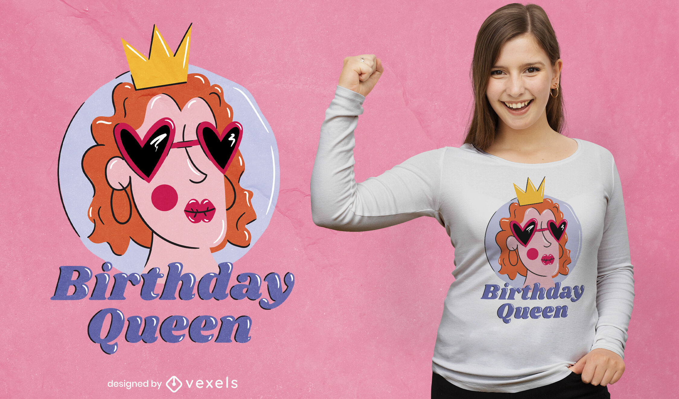 Mulher aniversariante com desenho de t-shirt em forma de coroa