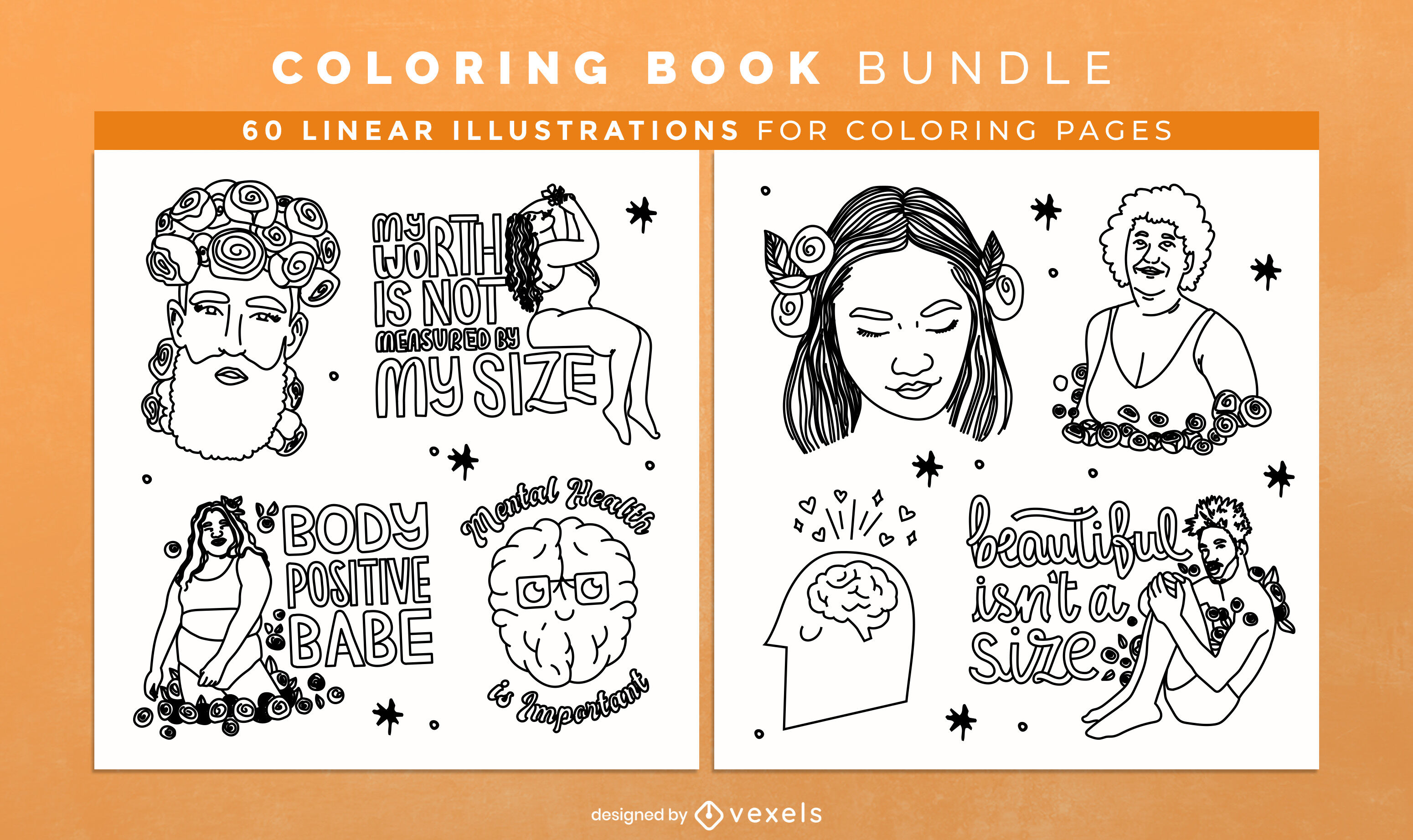 Body positivity coloring book design pages