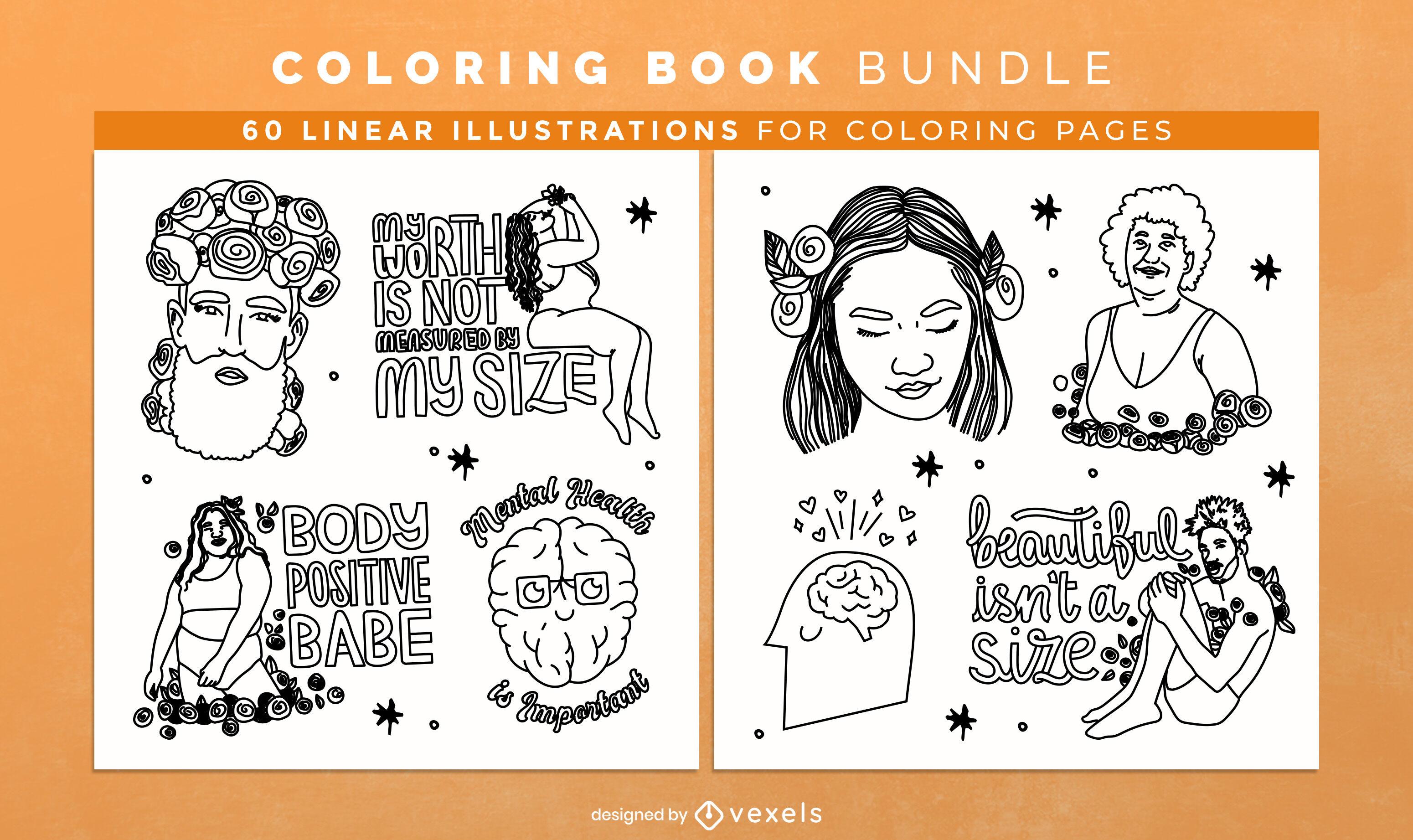 Páginas de design de livro para colorir com positividade corporal