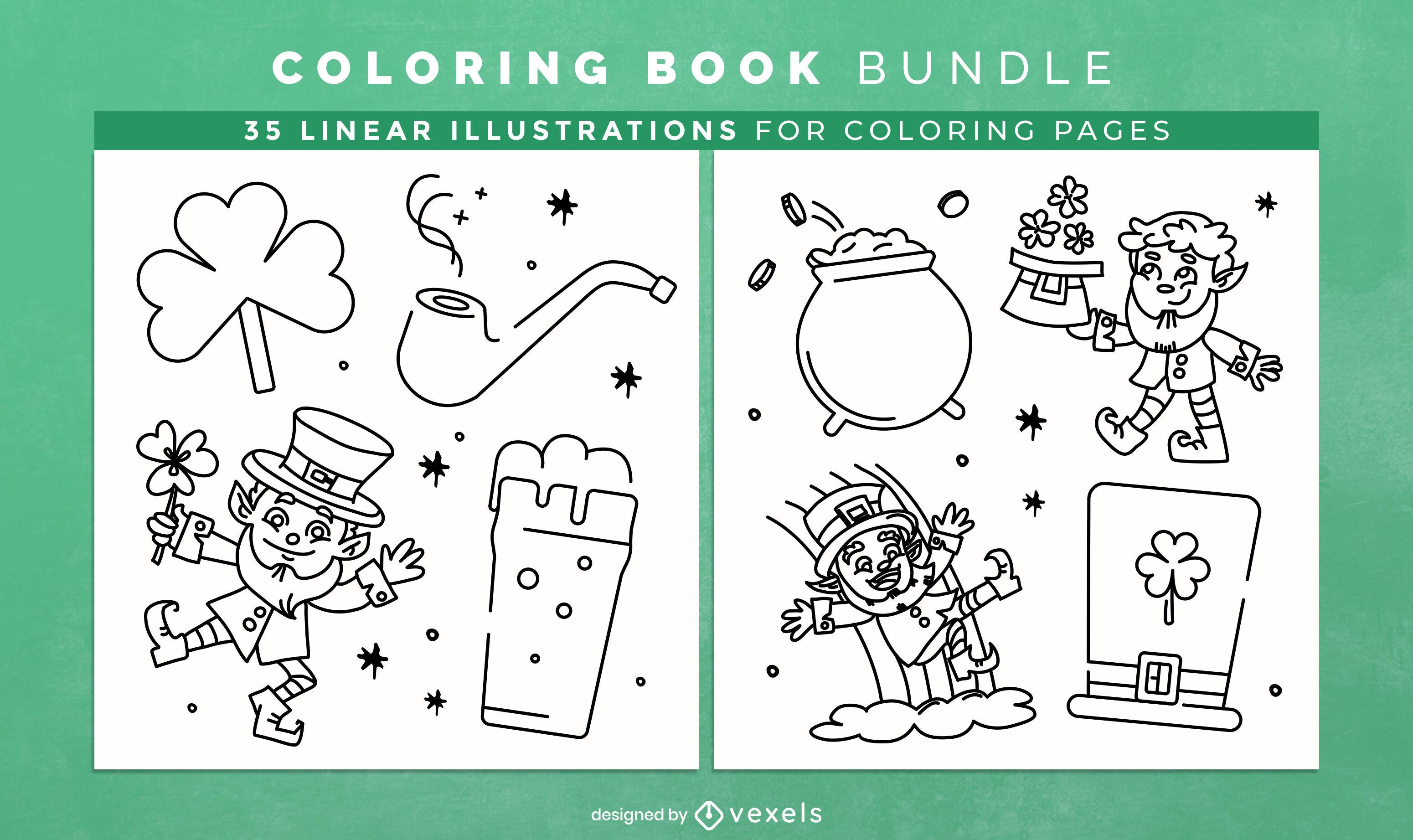 Elementos irlandeses para colorir livro KDP design de interiores
