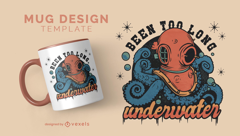 Diver with tentacles vintage mug design