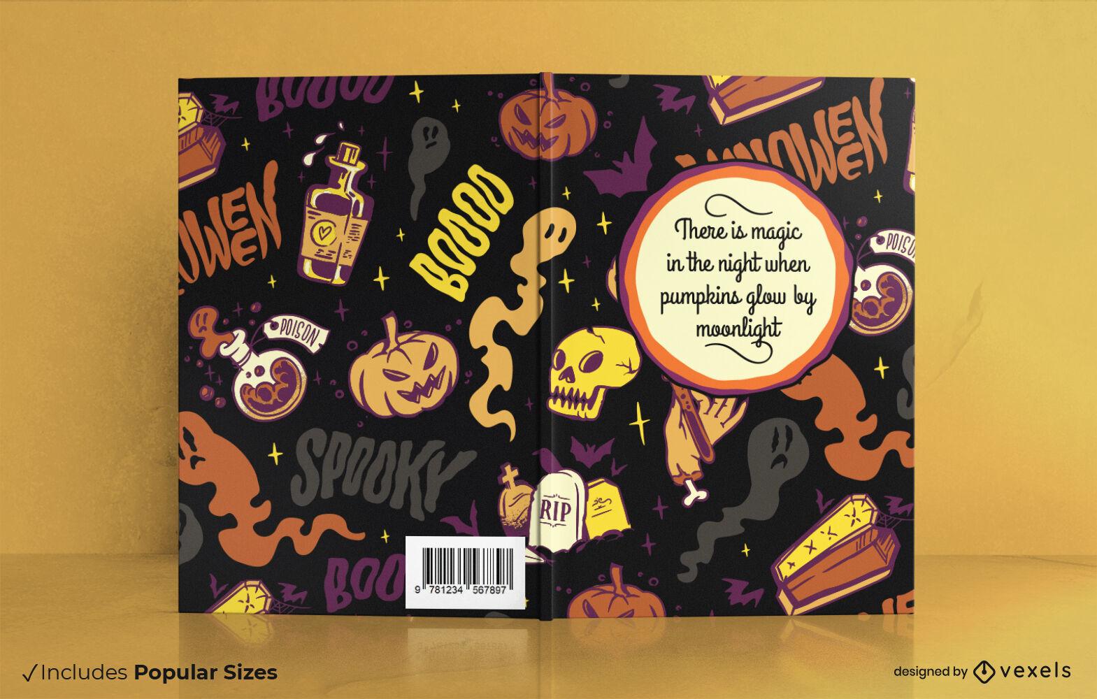 Design de capa de livro assustador de Halloween