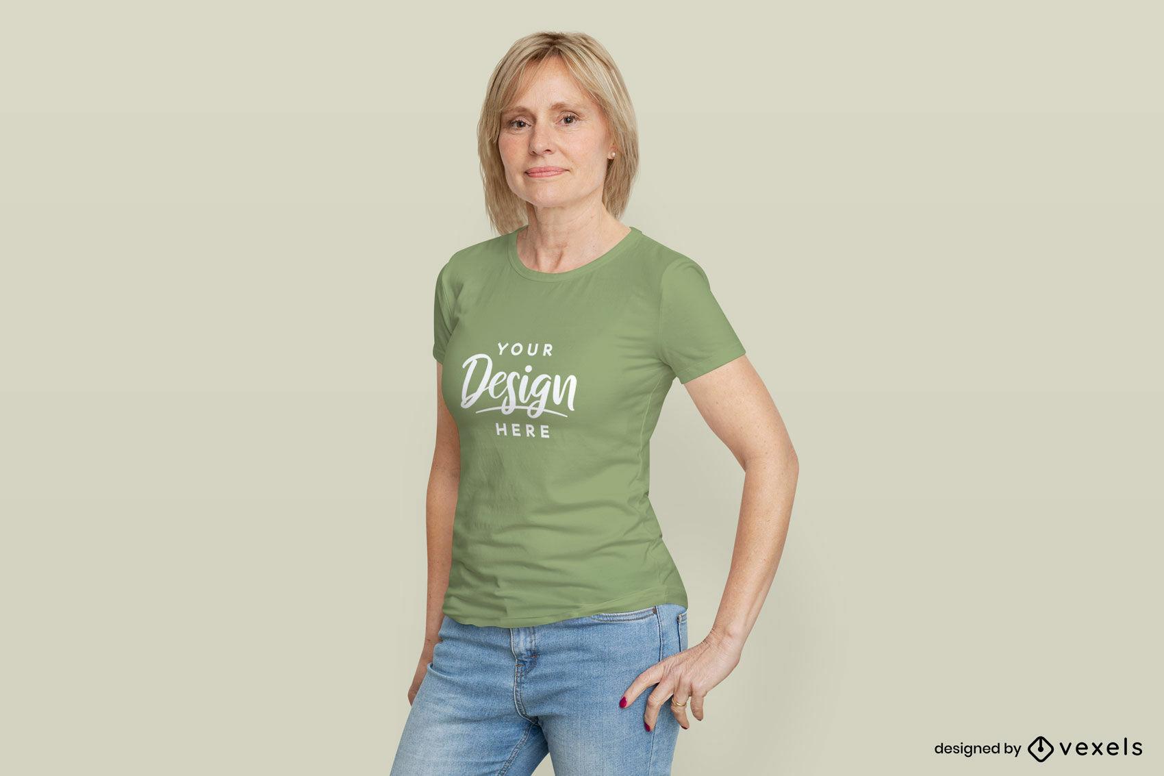 Female model green t-shirt mockup flat background