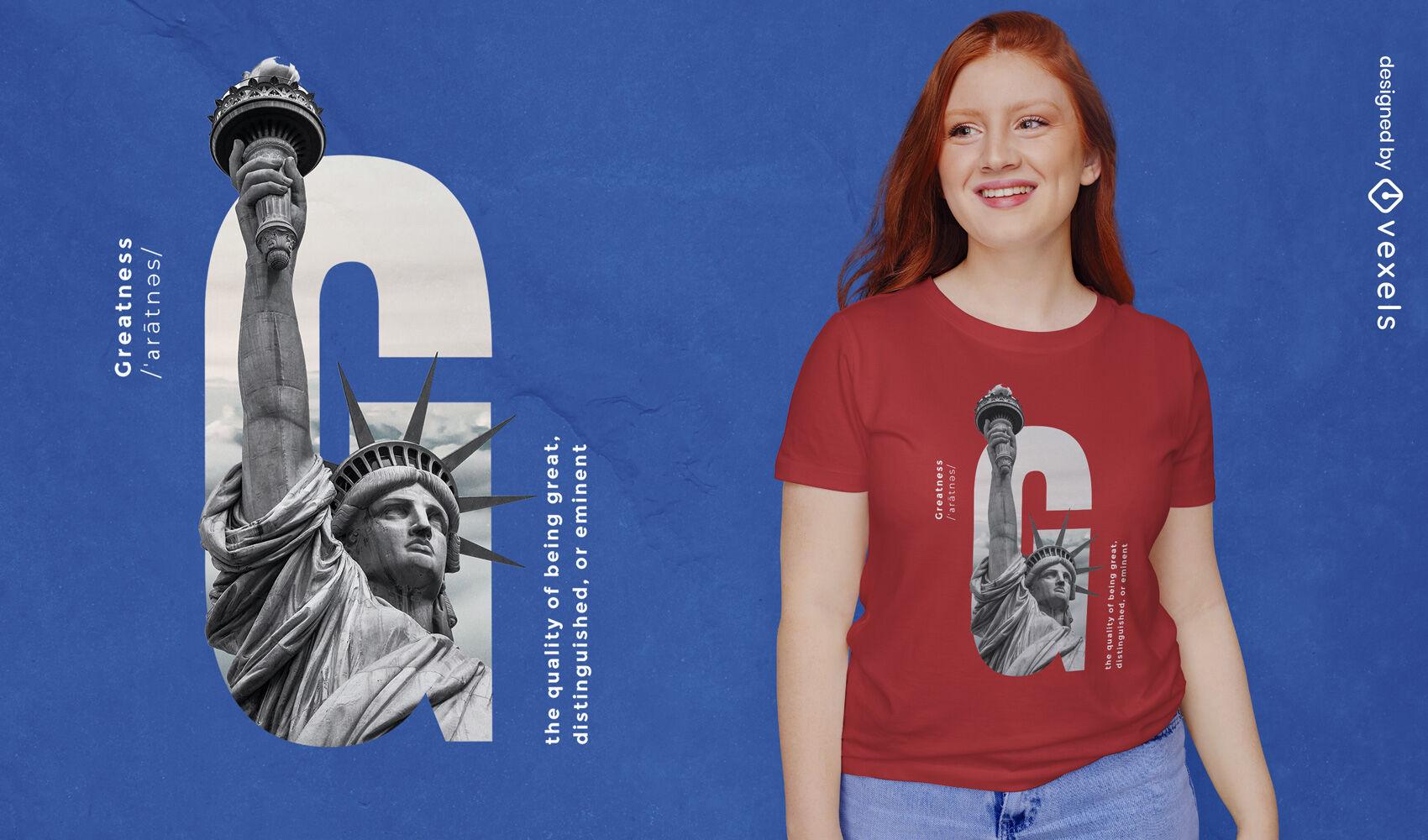 Design de t-shirt psd de grandeza da estátua da liberdade