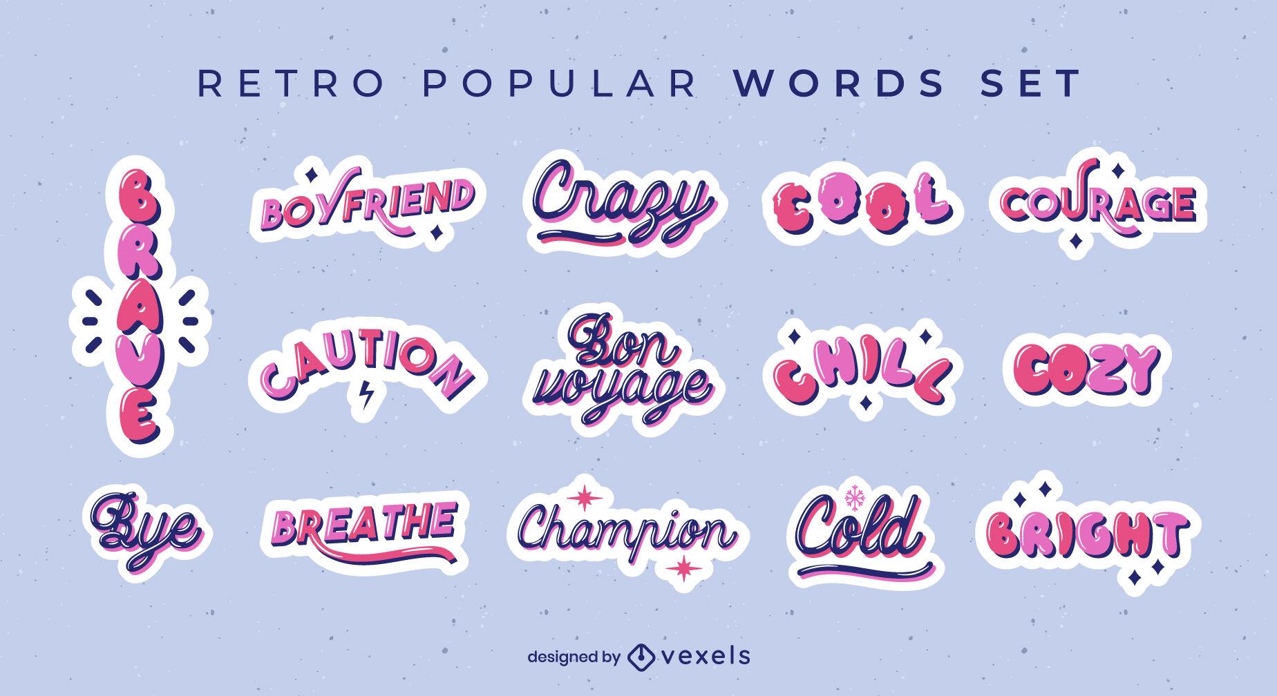 Slang expressions glossy quotes set