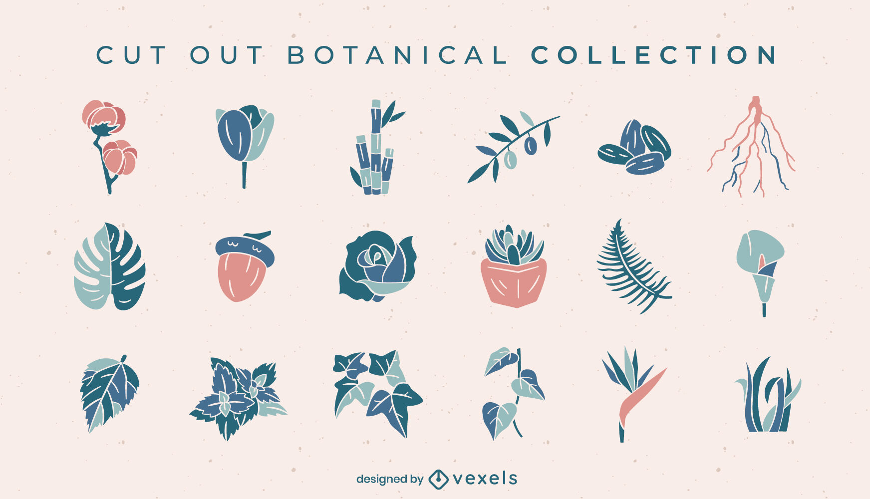 Botanical flowers and leaves cut out set