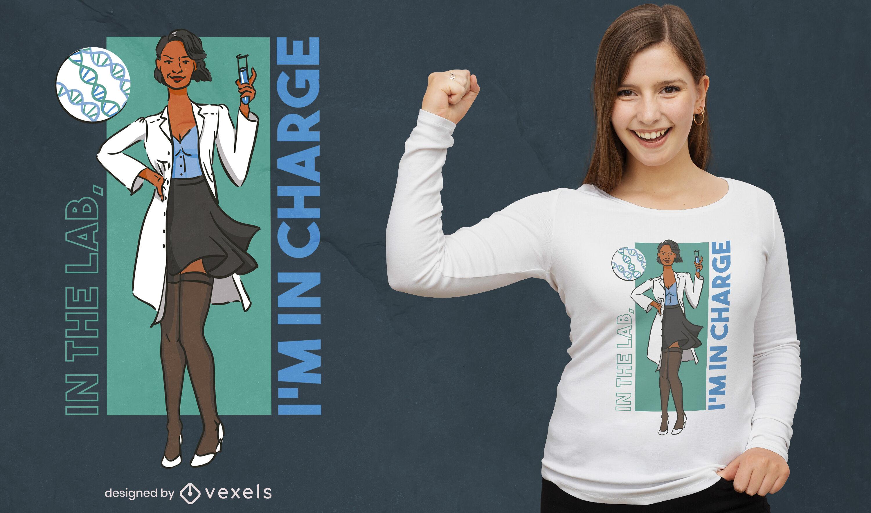 Diseño de camiseta de dibujos animados de mujer científica