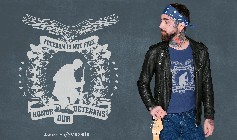 Design de camiseta com silhueta de soldado do Dia dos Veteranos