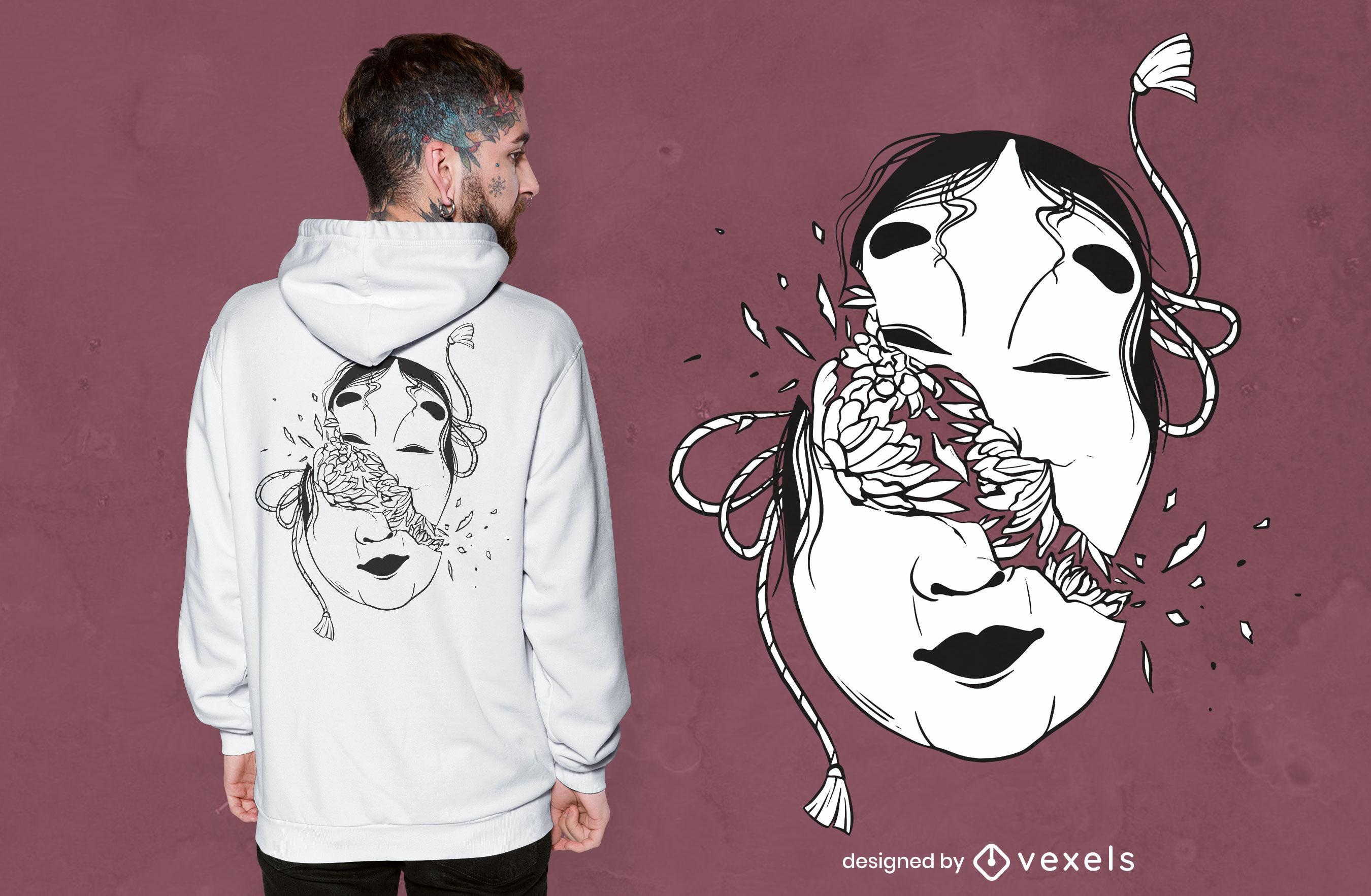 Diseño de camiseta de máscara japonesa rota