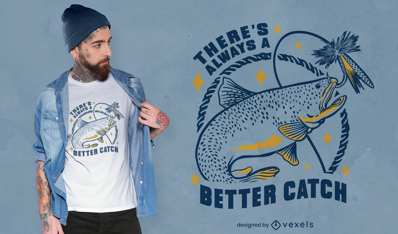 Diseño de camiseta de cita de pesca.