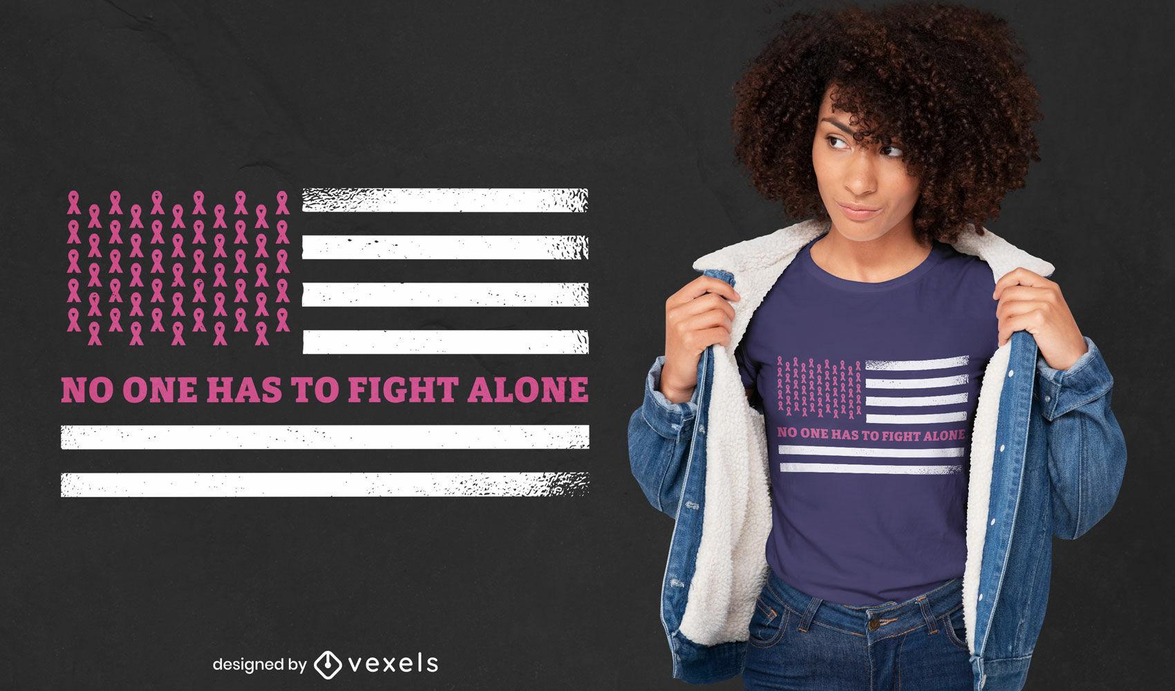 Diseño de camiseta de bandera americana de cáncer de mama