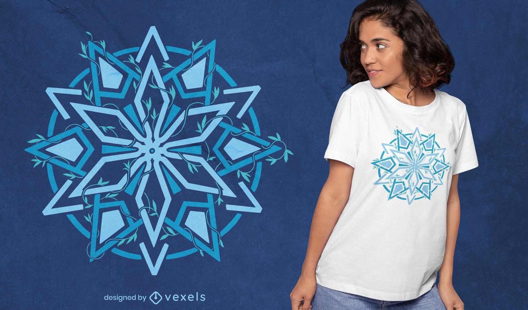 Mandala estrela com design de t-shirt de folhas