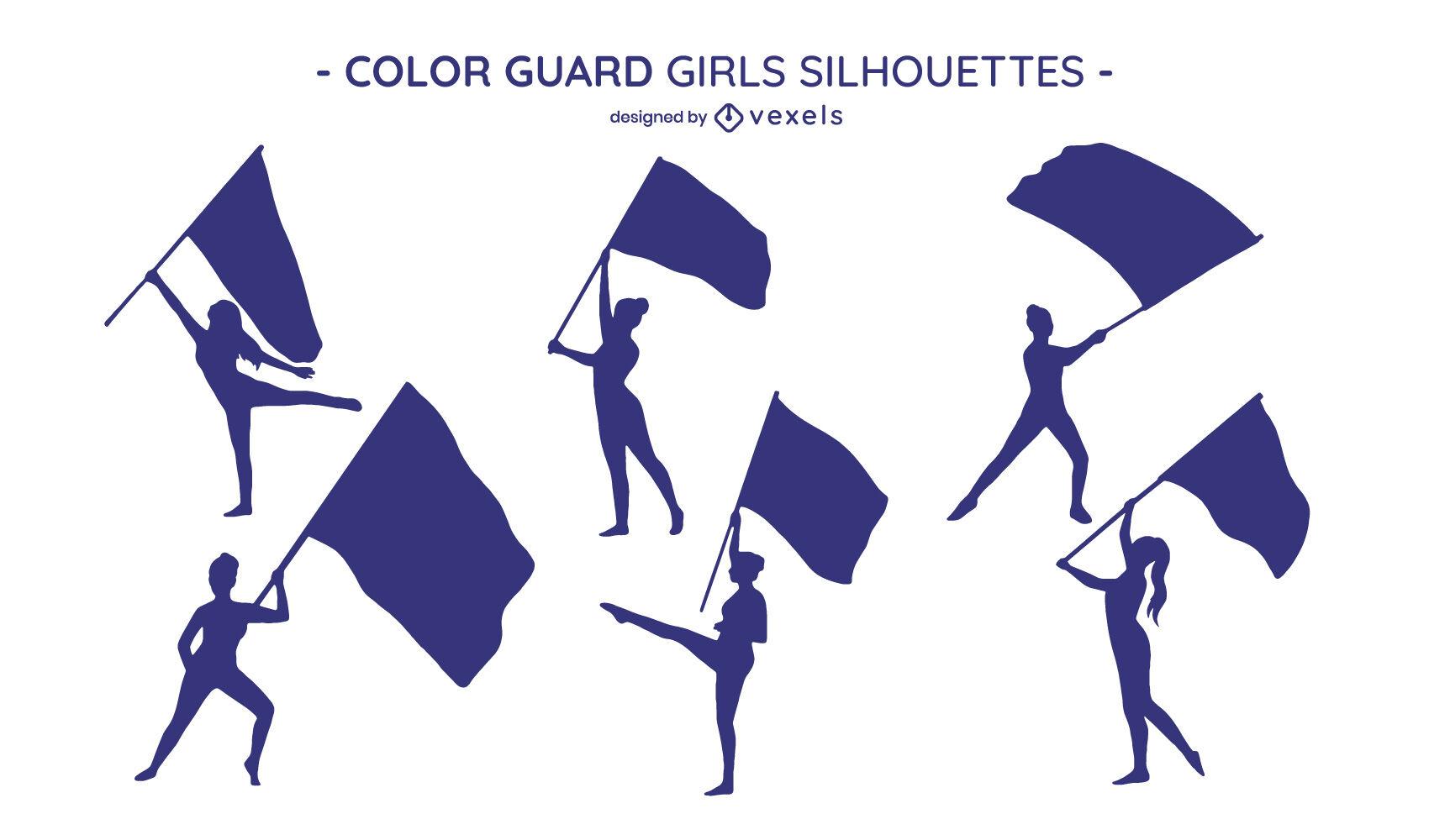 Chicas con banderas silueta escenografía
