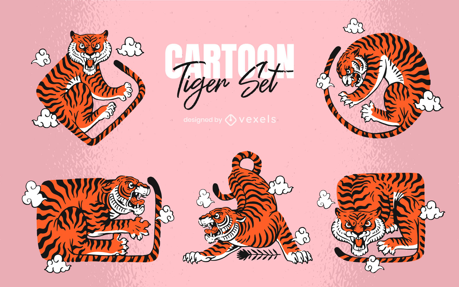 Conjunto de dibujos animados de formas de cuerpo de animal salvaje de tigre