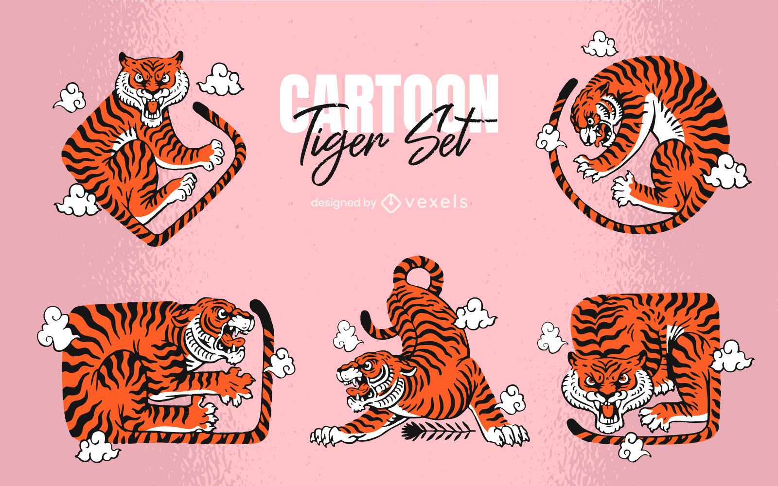 Tiger wild animal body shapes cartoon set
