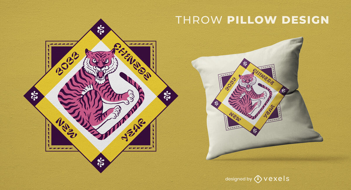 Tiger Chinese New Year throw pillow design