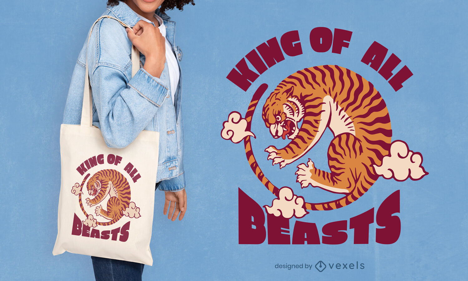 Tiger wild Chinese New Year tote bag design