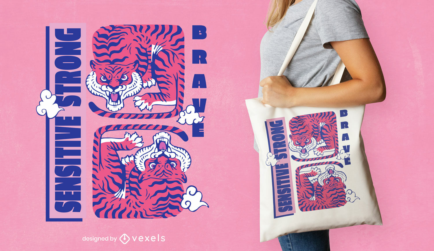 Chinese new year tigers tote bag design