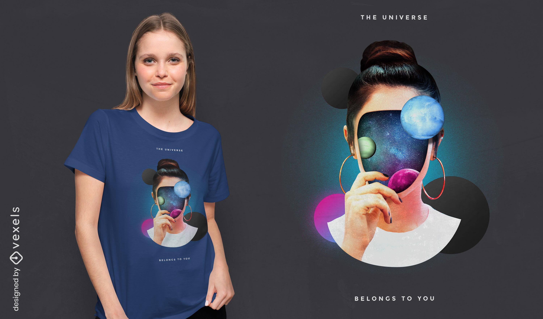 Design de t-shirt psd menina rosto Universo