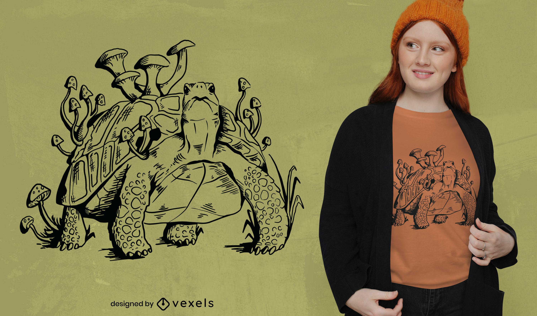 Desenho de t-shirt de tartaruga com cogumelos