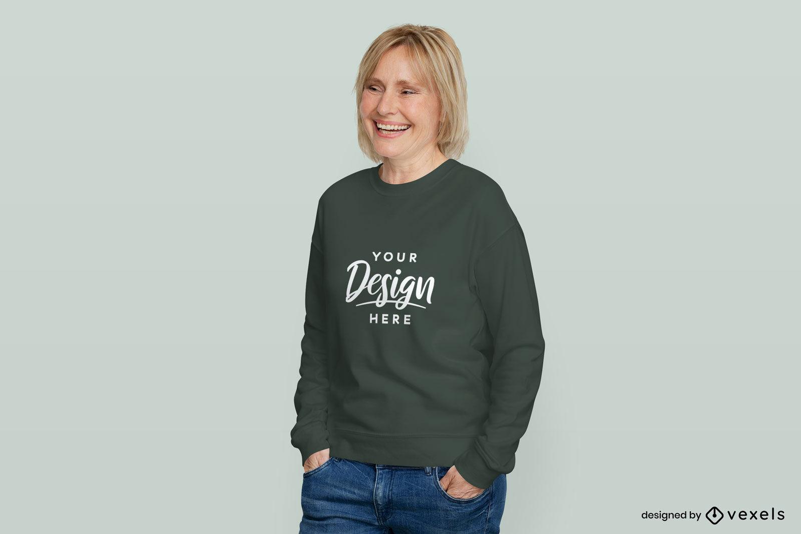 Woman in green sweatshirt flat background mockup