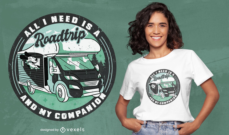 Diseño de camiseta de compañero de viaje por carretera.