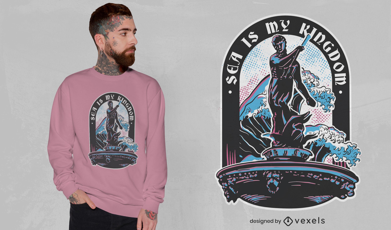 Diseño de camiseta de la mitología del dios del mar Poseidón