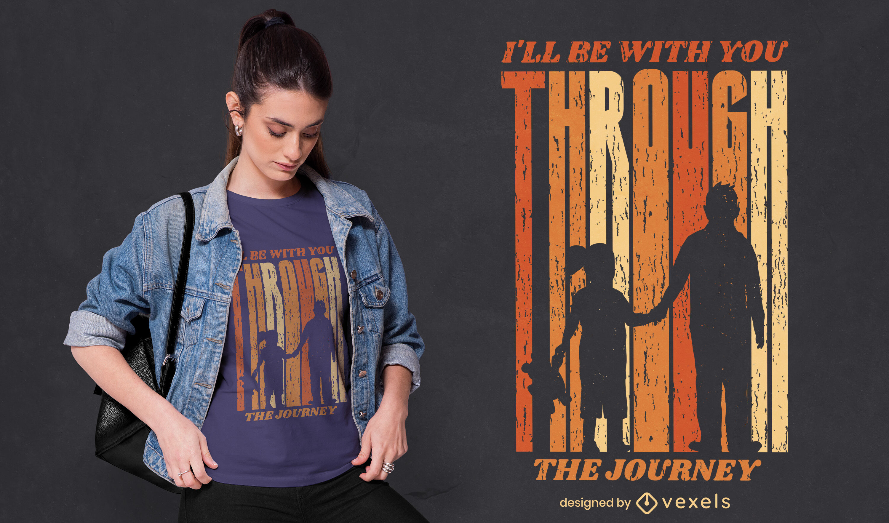 Father and daughter journey t-shirt design