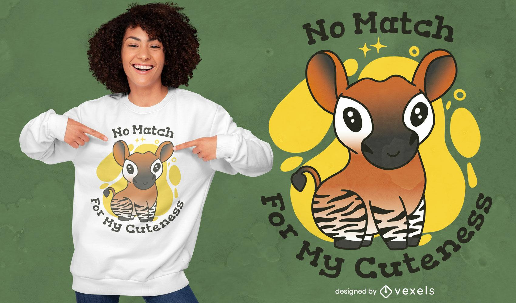 Design fofo de camiseta okapi