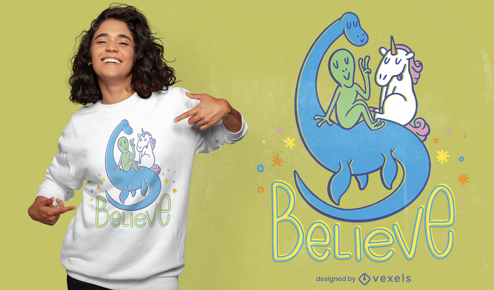 Diseño de camiseta alien unicornio y nessie