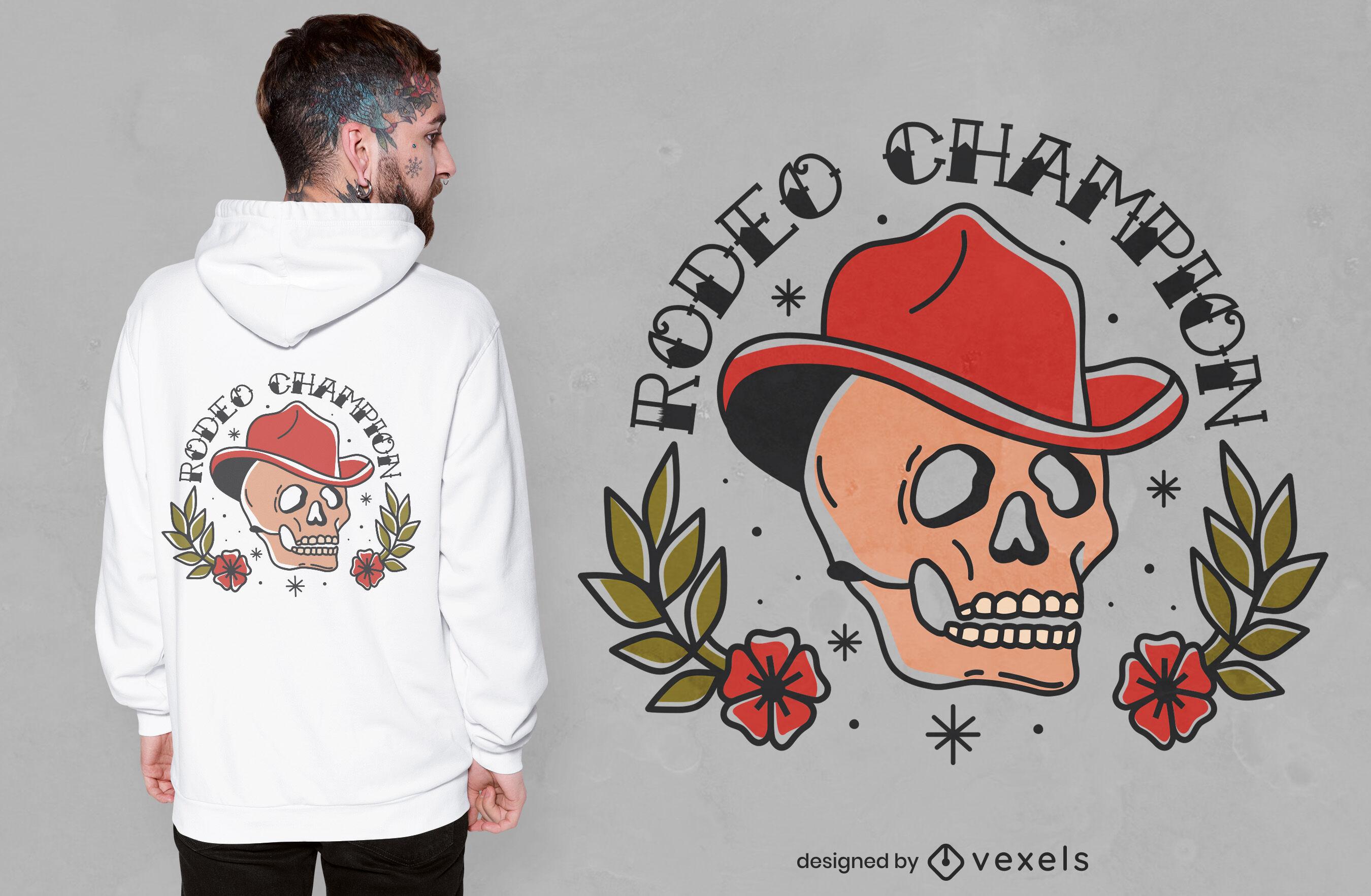 Design de camiseta com caveira campeã de rodeio