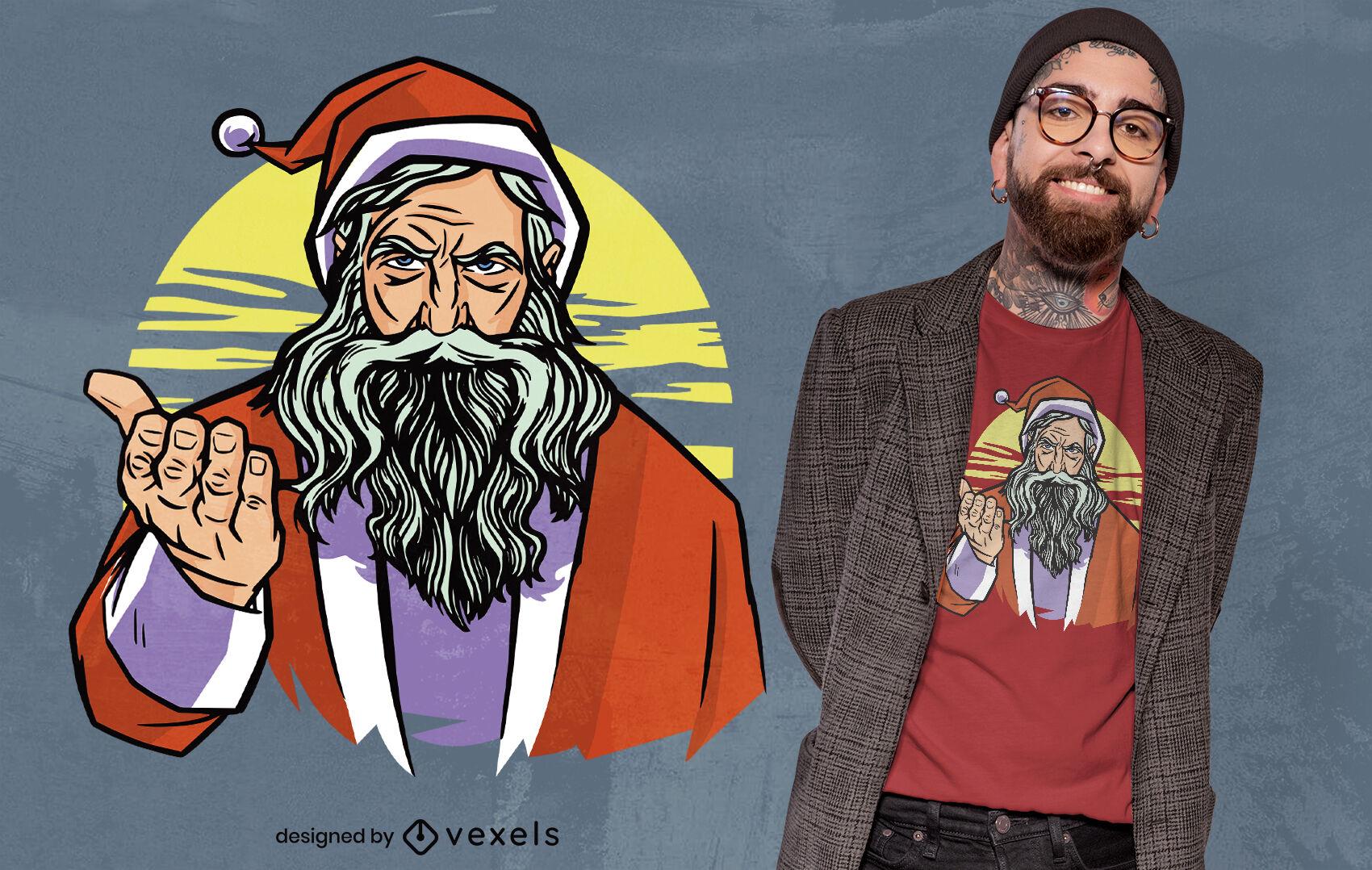 Dise?o de camiseta de ilustraci?n de Santa Claus serio