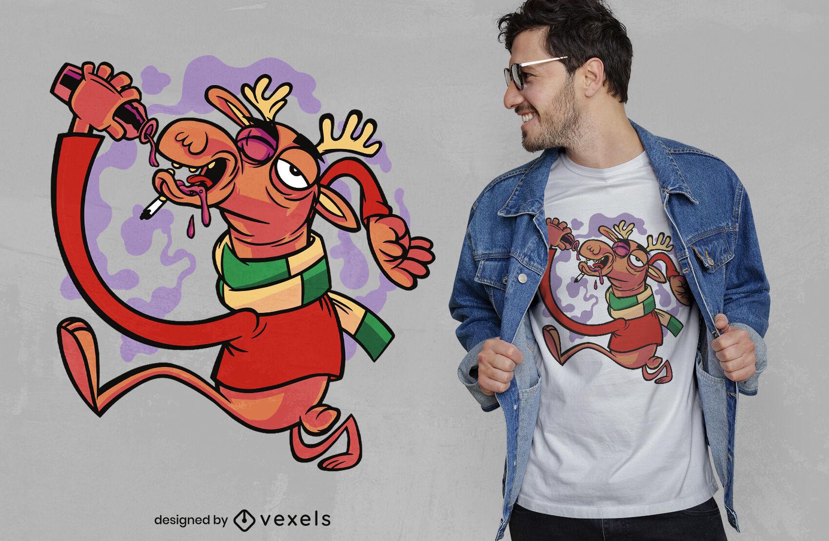 Diseño de camiseta de reno borracho de Navidad.
