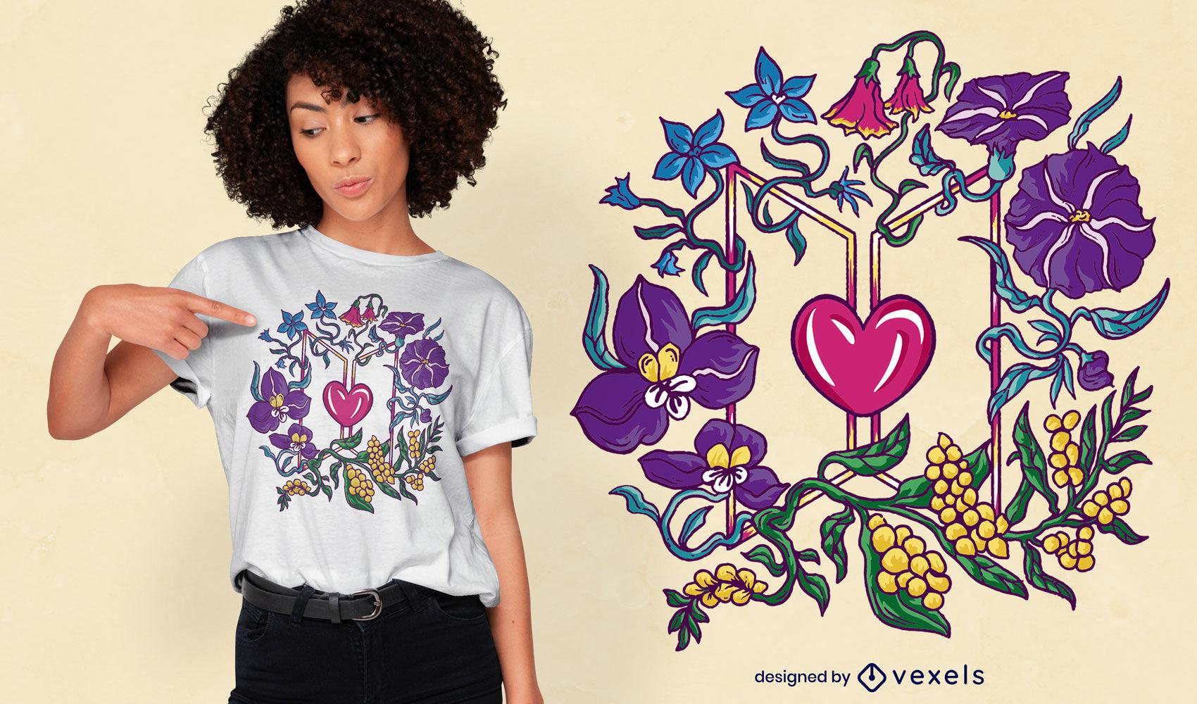 Diseño de camiseta de corazón y flores.