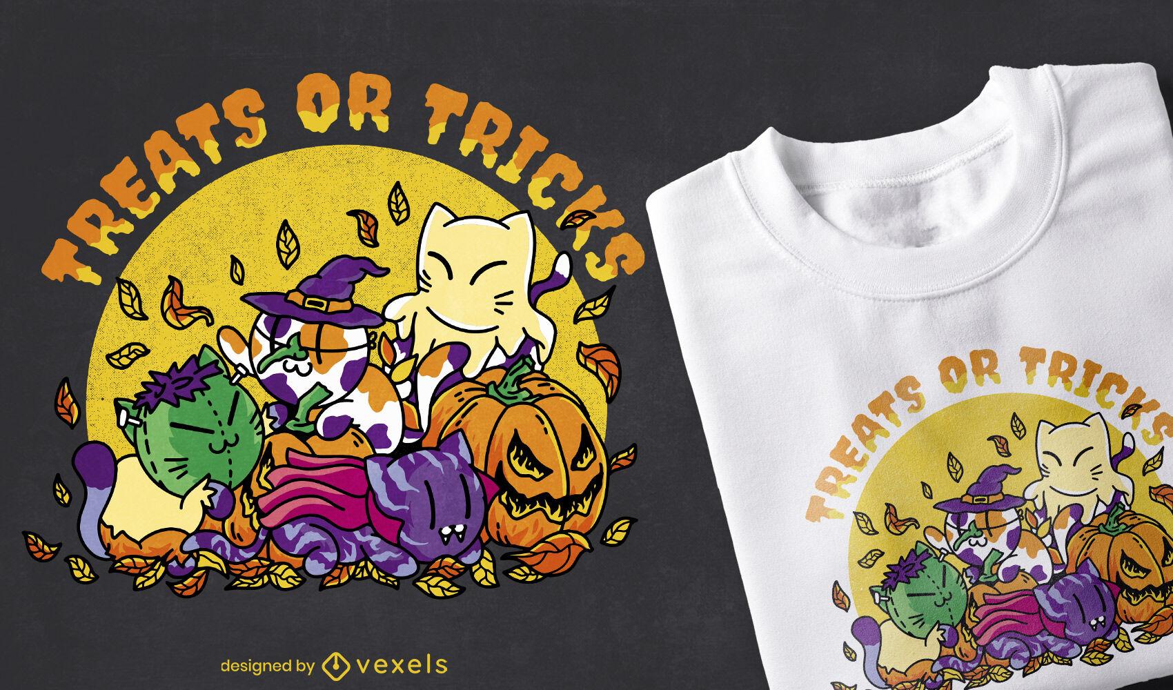 Diseño de camiseta de disfraces y gatos de Halloween.