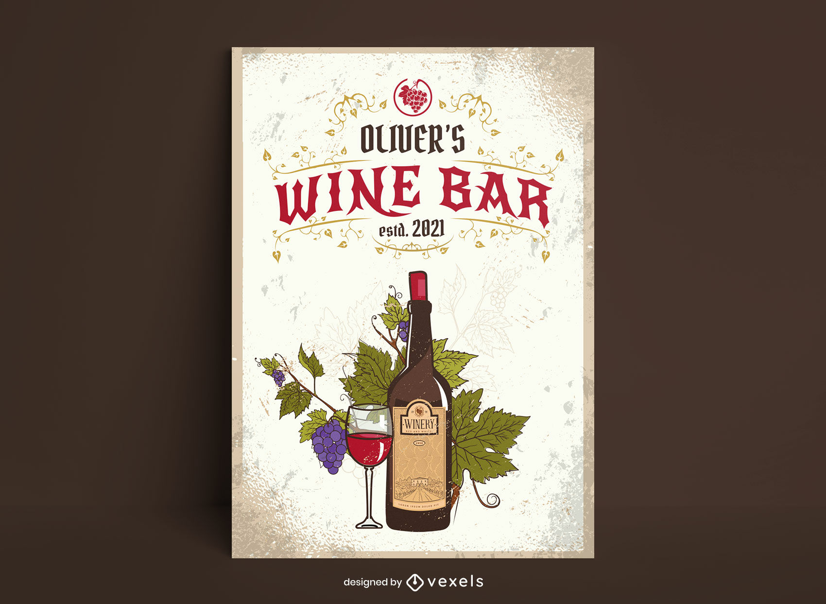 Plantilla de cartel de bebida alcoh?lica de botella de vino