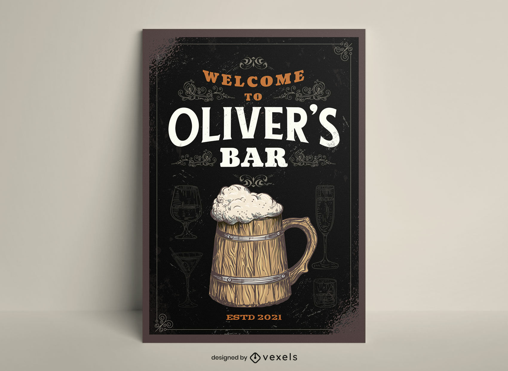 Beer jug alcoholic drink poster template