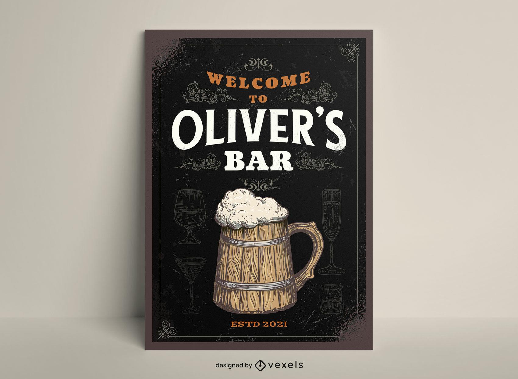 Plantilla de cartel de bebida alcoh?lica de jarra de cerveza