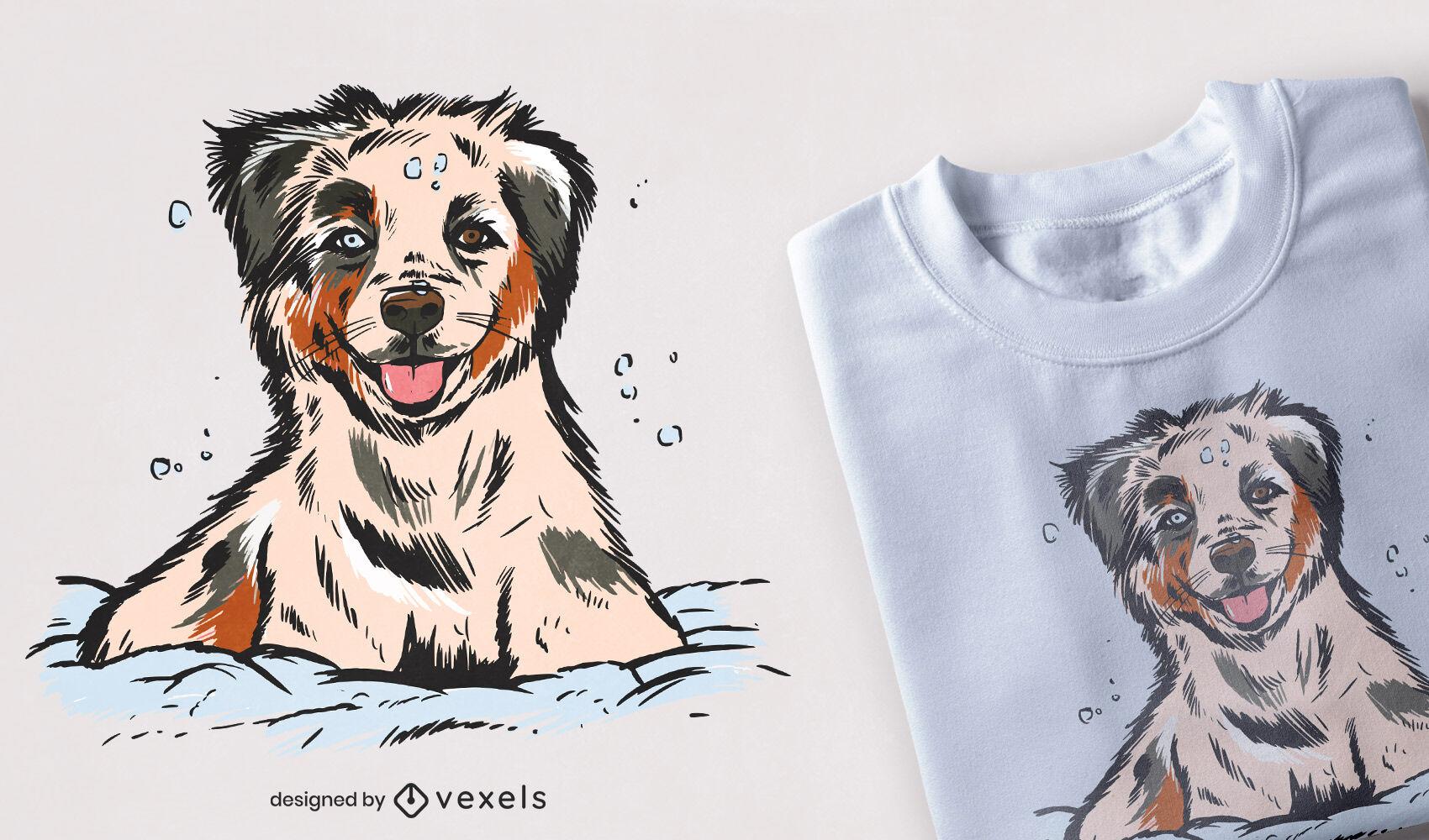 Diseño de camiseta de cachorro de pastor australiano