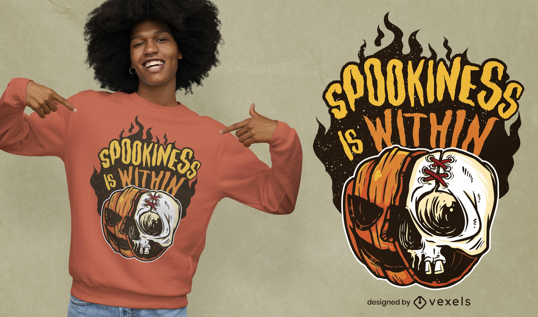 Diseño de camiseta de calavera y calabaza de Halloween.