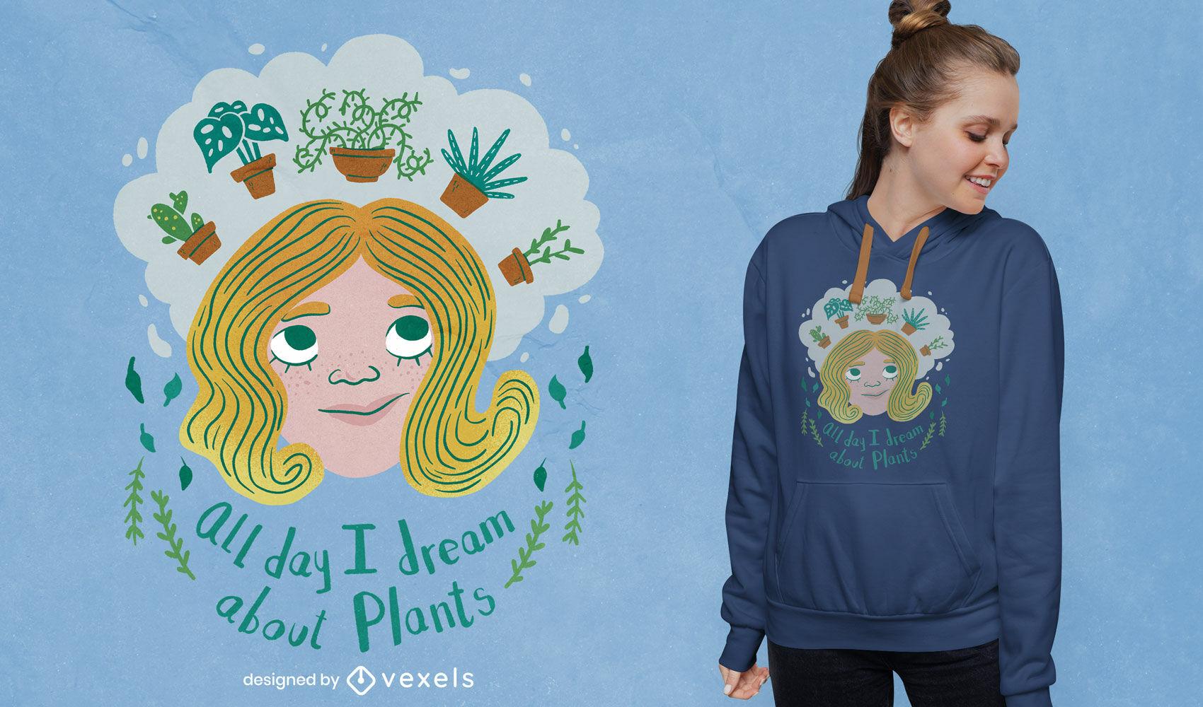 Chica plantas soñando doodle psd diseño de camiseta